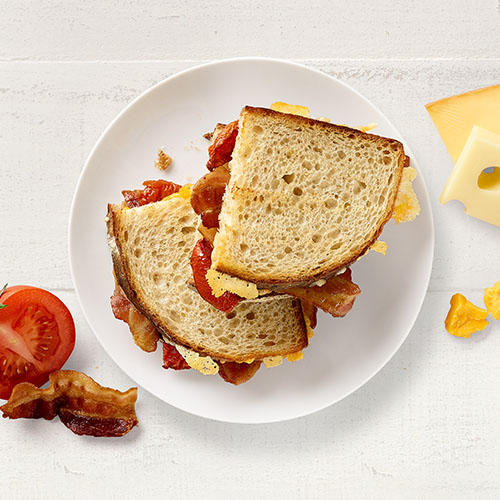 Cheesy Bacony Deliciousness! Try our new Bacon Tomato Grilled Cheese Panera Bread Mount Laurel (856)234-1009