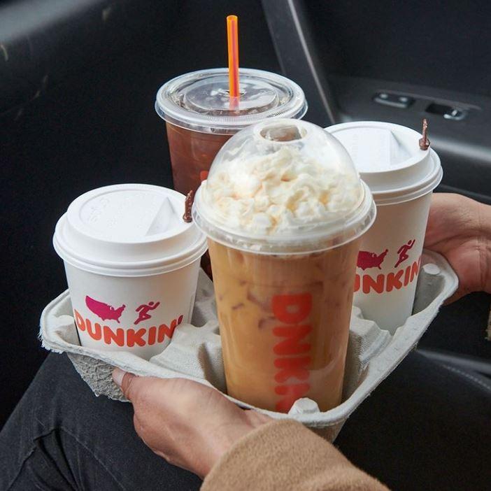 Dunkin' Coffee Lineup: Iced Carmel Craze Signature Latte, Black Iced Coffee, Hot Coffee, Hot Latte