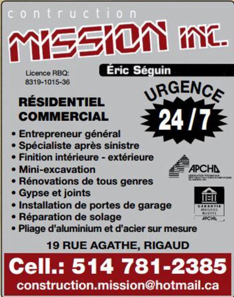 Construction Mission Inc - Rigaud, QC J0P 1P0 - (514)781-2385   ShowMeLocal.com