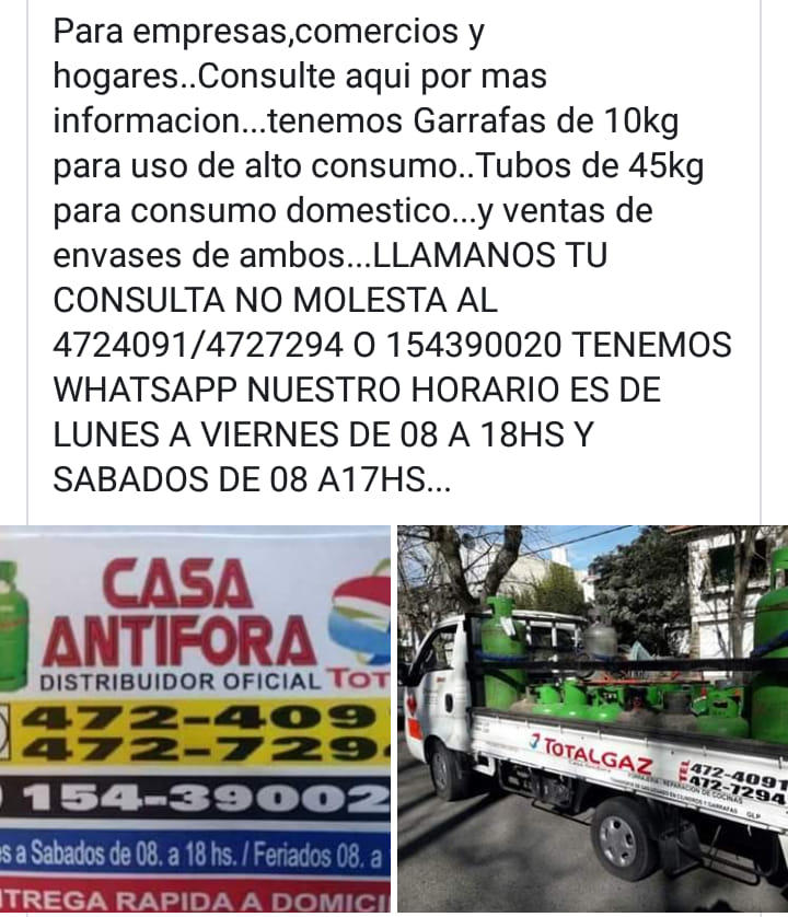 ANTIFORA COMERCIAL REPARTO DE GAS