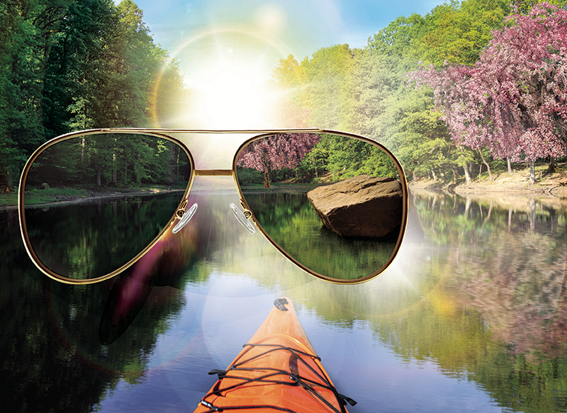 "Sun glasses really help you to see through the glare caused by reflection. Try our new Ray Bans and Maui Jim""s."