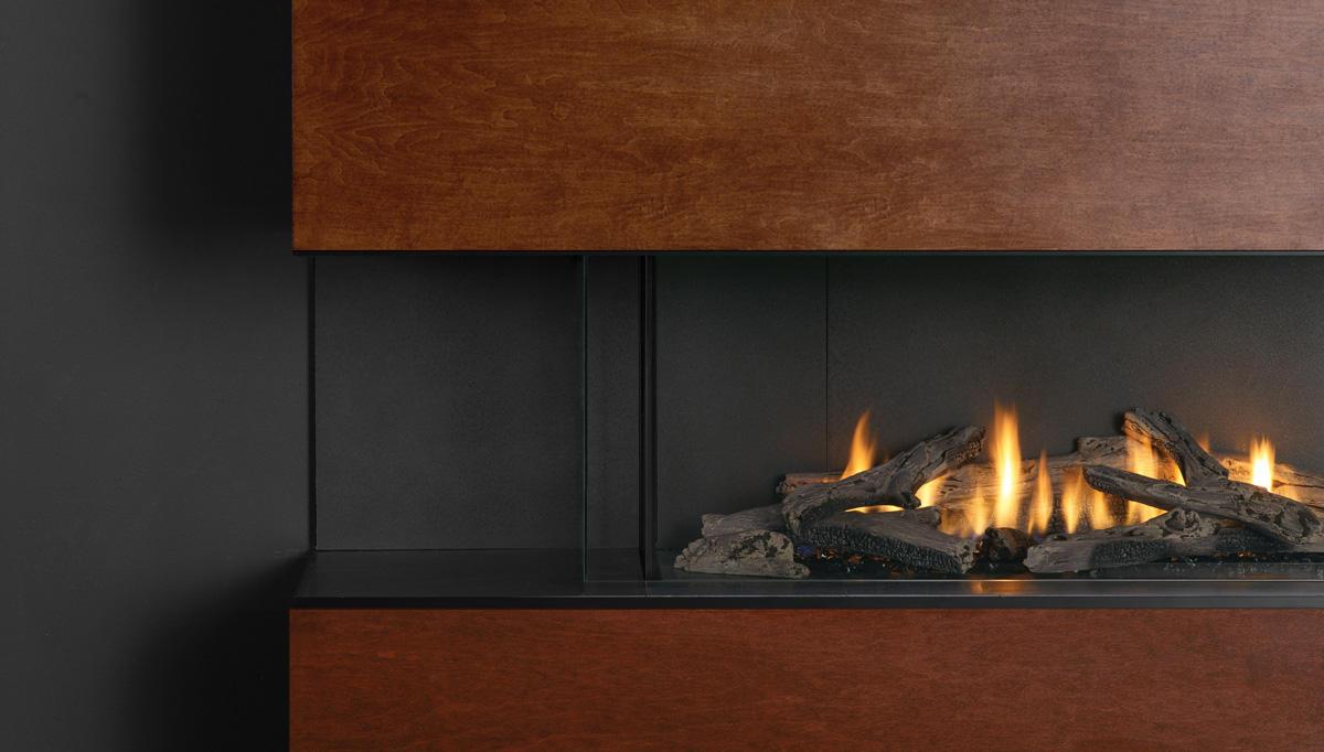 Fireplace Gallery in Edmonton: Frameless Glass on Regency City Series Bay Units