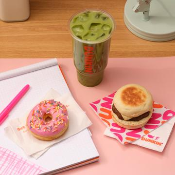 Dunkin' Almondmilk Iced Matcha, Strawberry Frosted Donut and Beyond Sausage Sandwich
