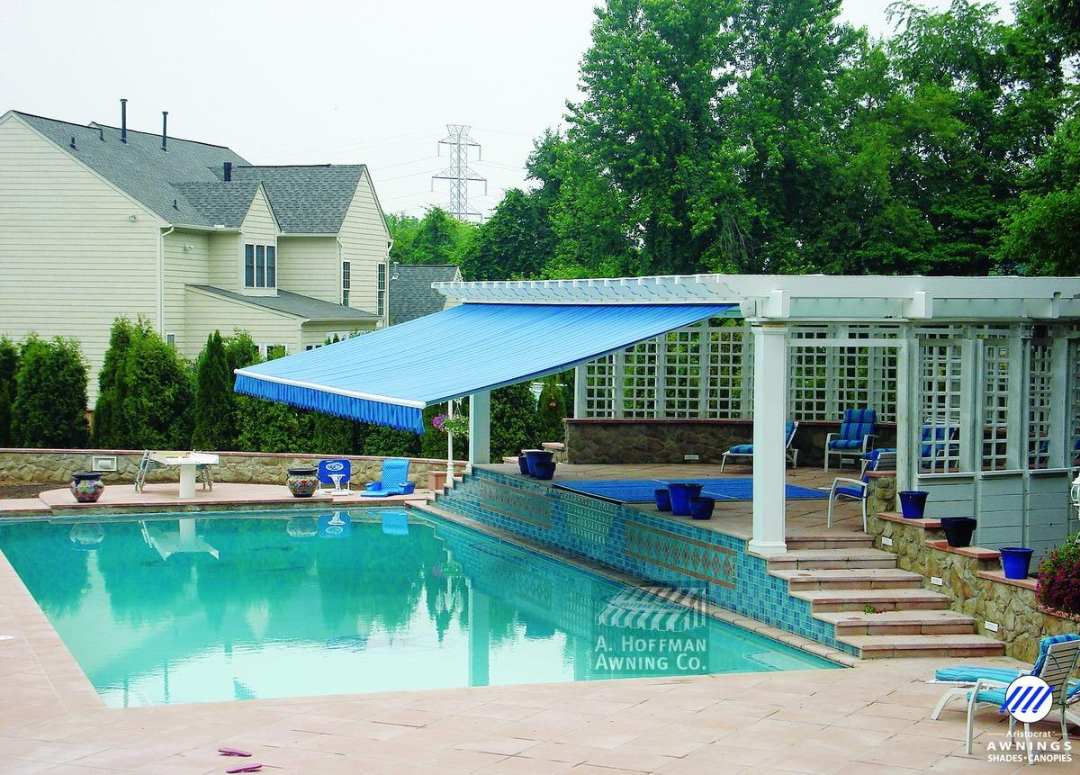 Aristocrat Retractable Awning shading pool area in Baltimore A. Hoffman Awning in Baltimore     410-685-5687