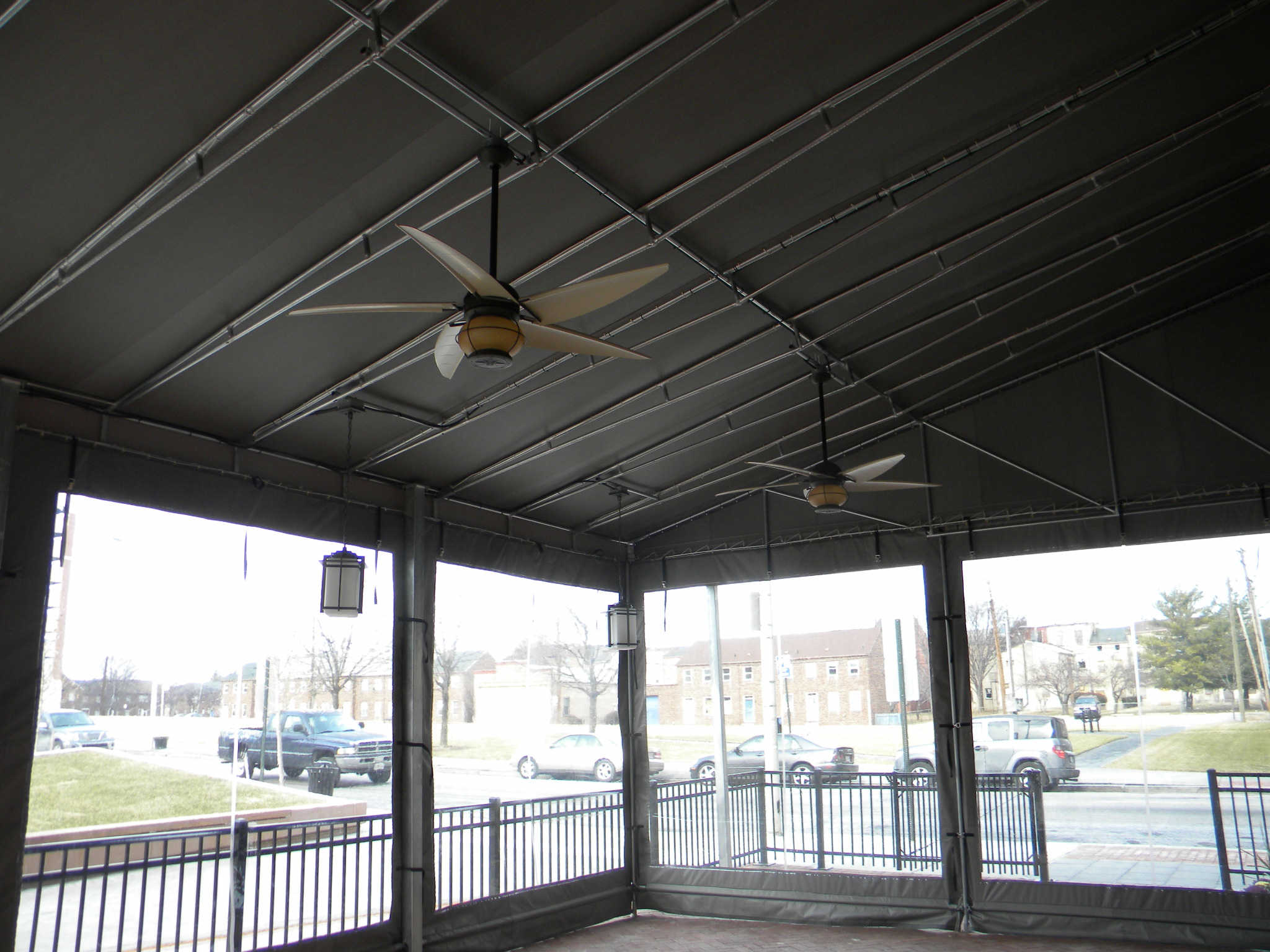 Hoffman Awning- Room Addition using Clear Curtains Baltimore This room addition included heating and ceiling fans Call A. Hoffman Awning in Baltimore  to add space to your restaurant    410-685-5687