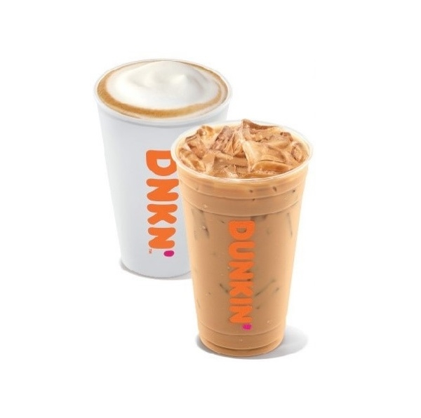 Dunkin' Hot Latte and Iced Latte