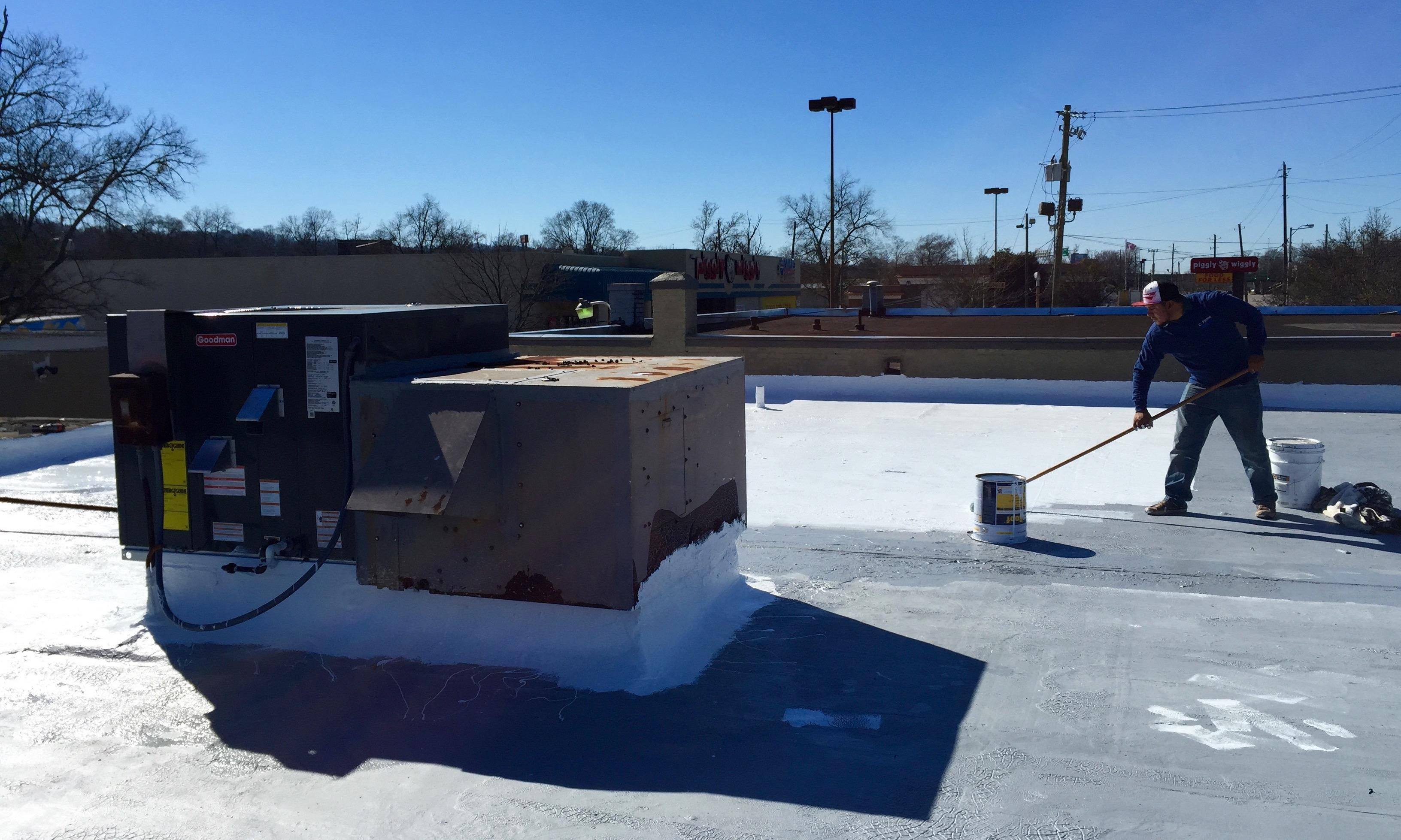 Gaco silicone roof coating installed by Capstone Roofing, LLC in Birmingham, Alabama.