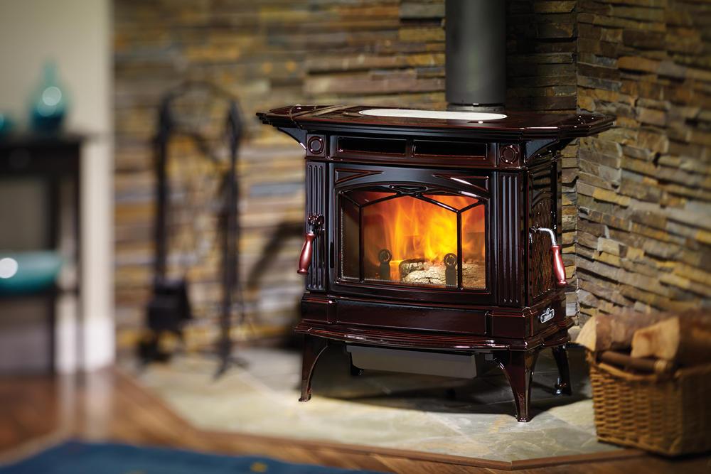 Fireplace Gallery in Edmonton: Hampton H300 Wood Burning Stove - Cast Iron - Brown