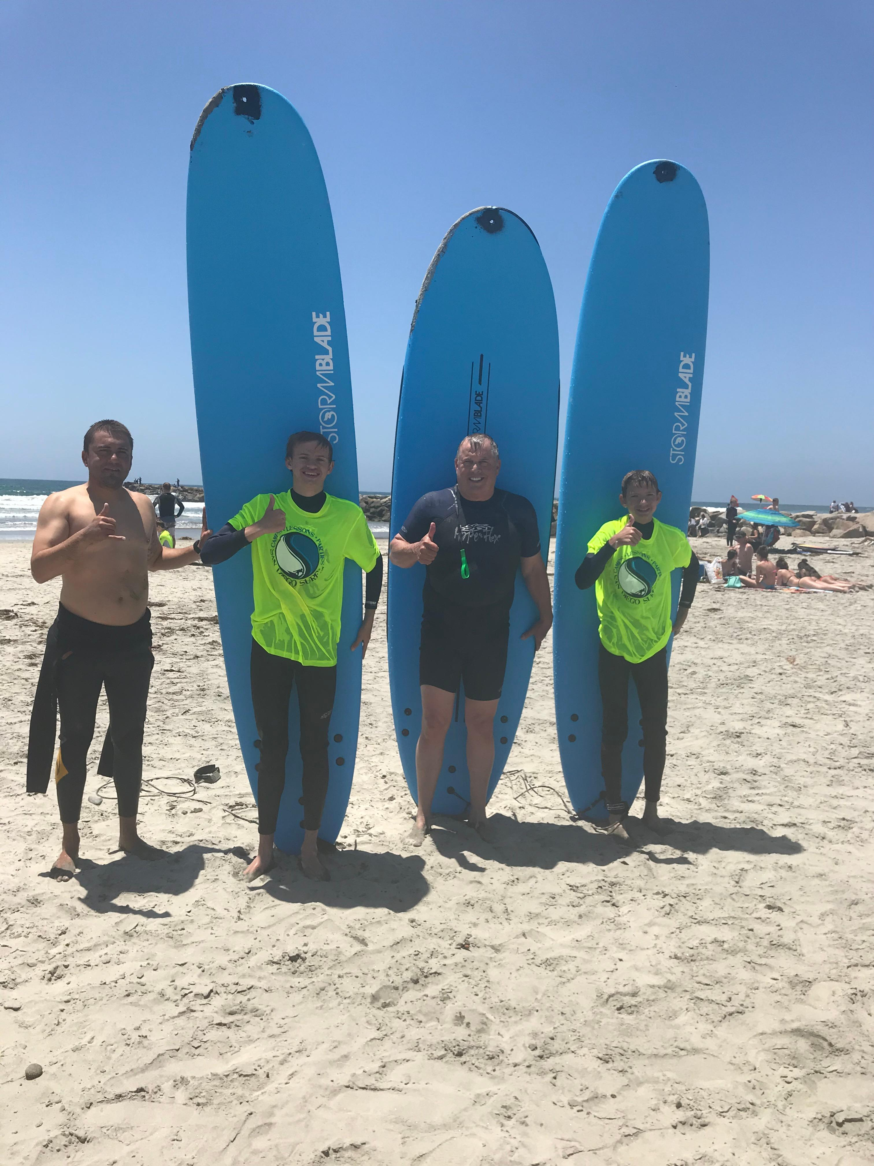 DR. Paul and grandsons bonded and have a great time. Book your experience at sandiegosurf.com