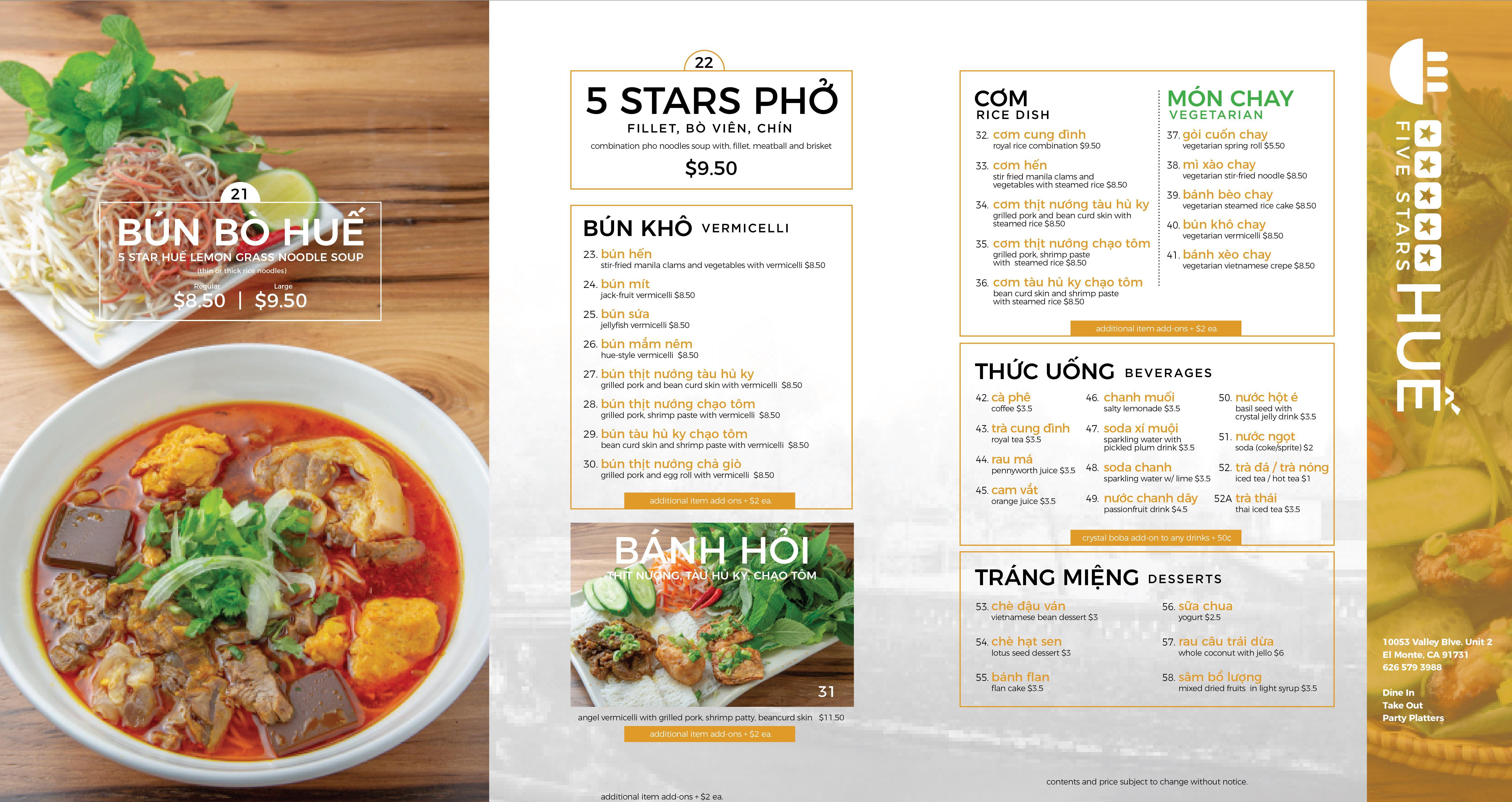 menu-1 #5StarsHue in #ELMonte & #Duarte 10053 Valley Blvd, El Monte CA 91731 626-579-3988 1020 Hunti 5 Stars Hue Duarte (626)531-7688