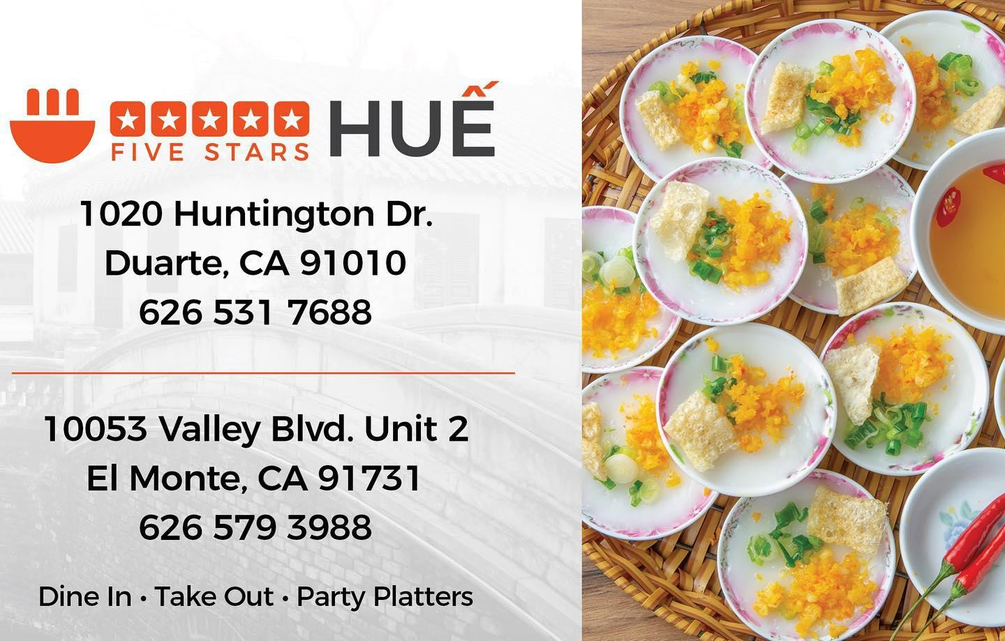 Meet us at our new location 5 Stars Hue @ Duarte 11/05?? ??????????! 1020 Hungtington Dr., Duarte, C 5 Stars Hue Duarte (626)531-7688