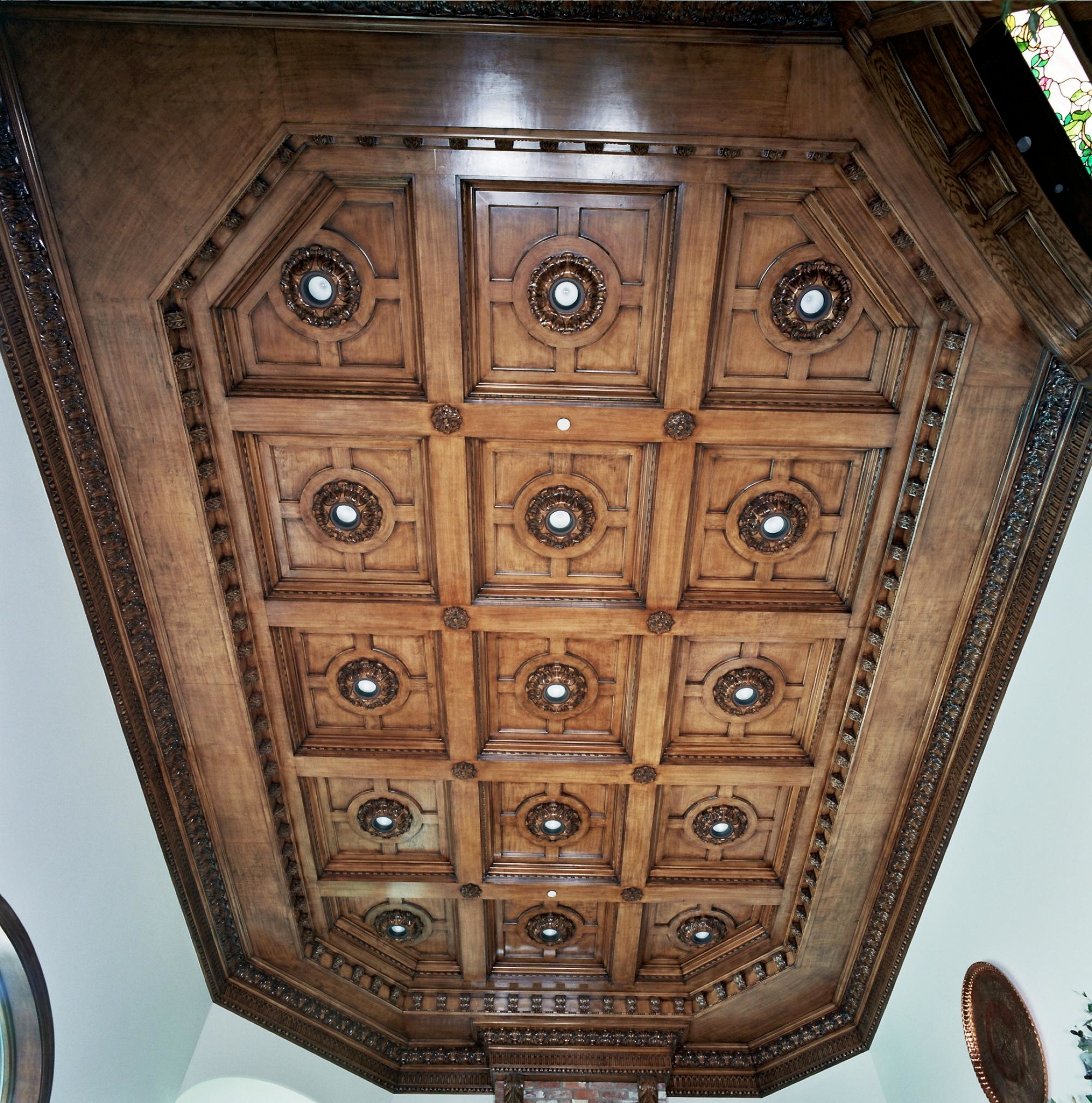 Great room Grand Coffered Ceiling in stained Maple. Fabrication/installation by Philip Snyder of PS Woodworking.