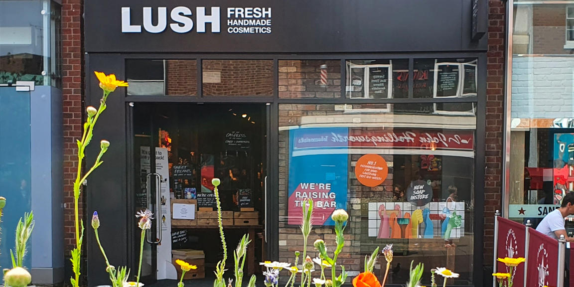 Photo shows and image of the Solihull store front, with wild flowers in bloom in the foreground.