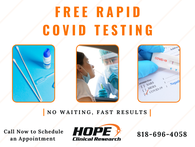 We are now offering Free Rapid COVID-19 Testing with no waiting and fast results. Call now to schedule your appointment. Space is limited. #FreeRapidTesting #ClinicalResearch #Covid-19