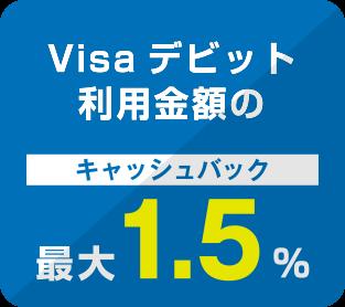 Visaデビット利用金額のキャッシュバック最大1.5%