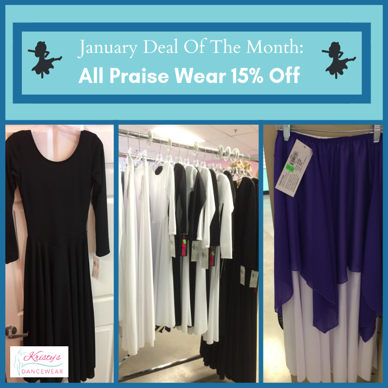 0d651256905 Stop in to Kristy s Dancewear for all of your Praisewear needs! During  January all praisewear at Kristy s is 15% off! Visit Us Today!