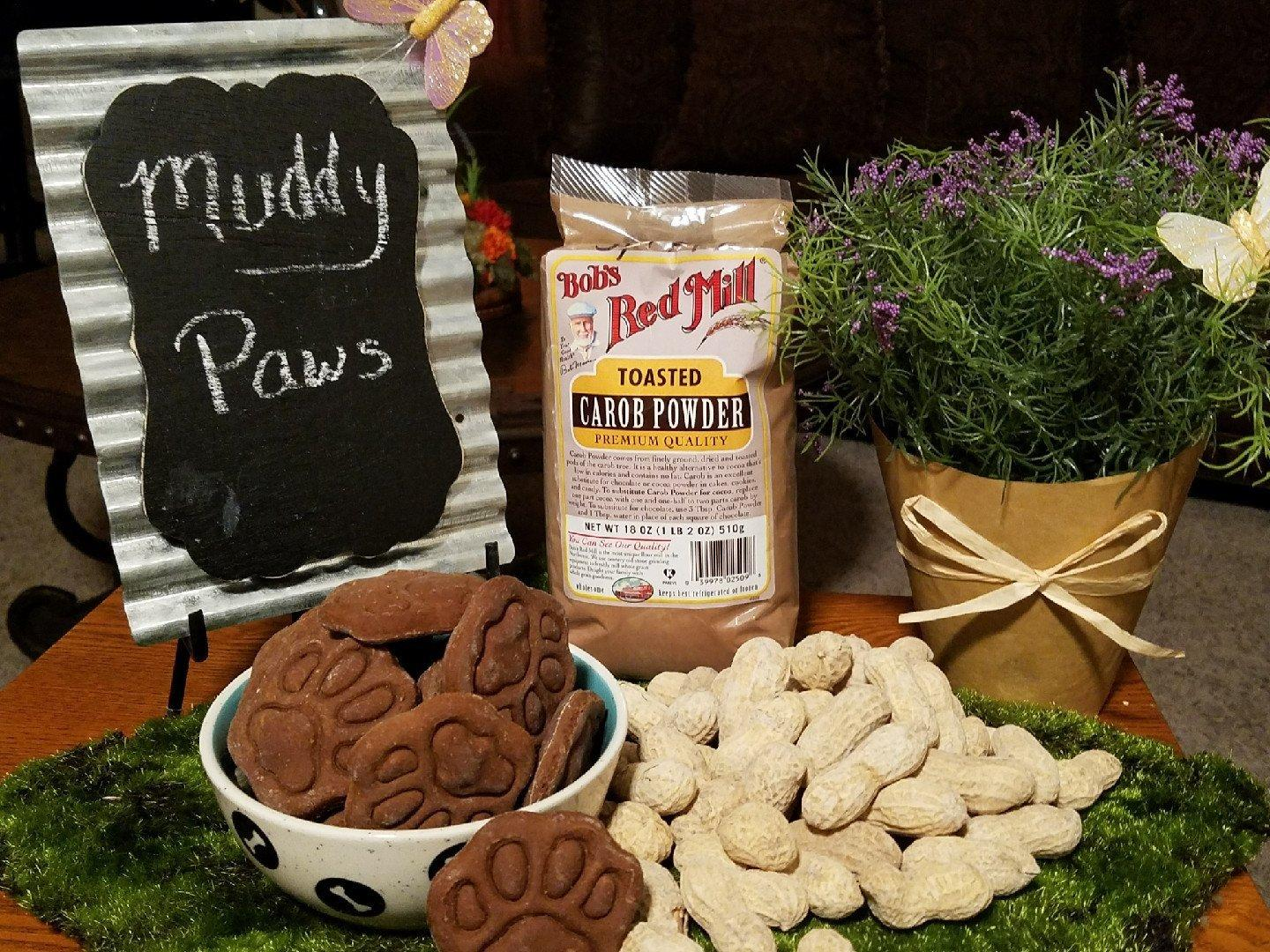 Muddy paws.  A wonderful combination of Carob and Peanut butter.  The taste of chocolate without the caffeine  and theobromine that can harm them.