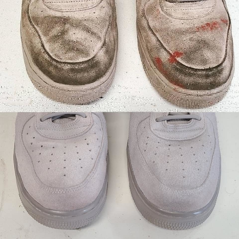 KW Shoe Repair & Sneaker Cleaning Service in Kitchener: This pair of Air Force 1's received a Deep Cleaning from our Shop.  Swipe right to see the before and afters!