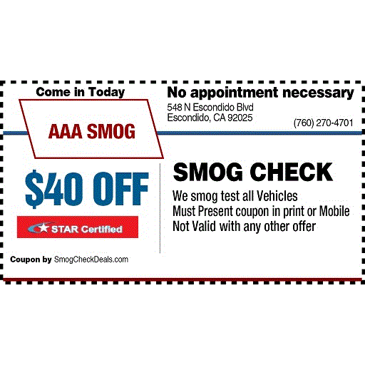 Smog check discount coupons