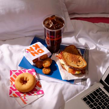 Dunkin' Cold Brew, Sourdough Breakfast Sandwich, Hash Browns and Old Fashioned Donut