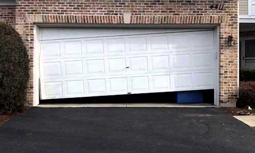 When your garage door goes off track, we'll put it back on track  Often a broken spring or unwound cable(s) can be the cause.  You might see rollers on the ground.from falling out of the track..  In any event we are here to help