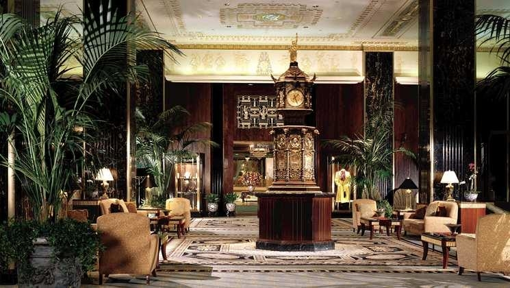 The nine foot-tall, two-ton bronze clock was created for the Chicago World's Fair in 1893 and was the centerpiece of the original Waldorf Hotel.