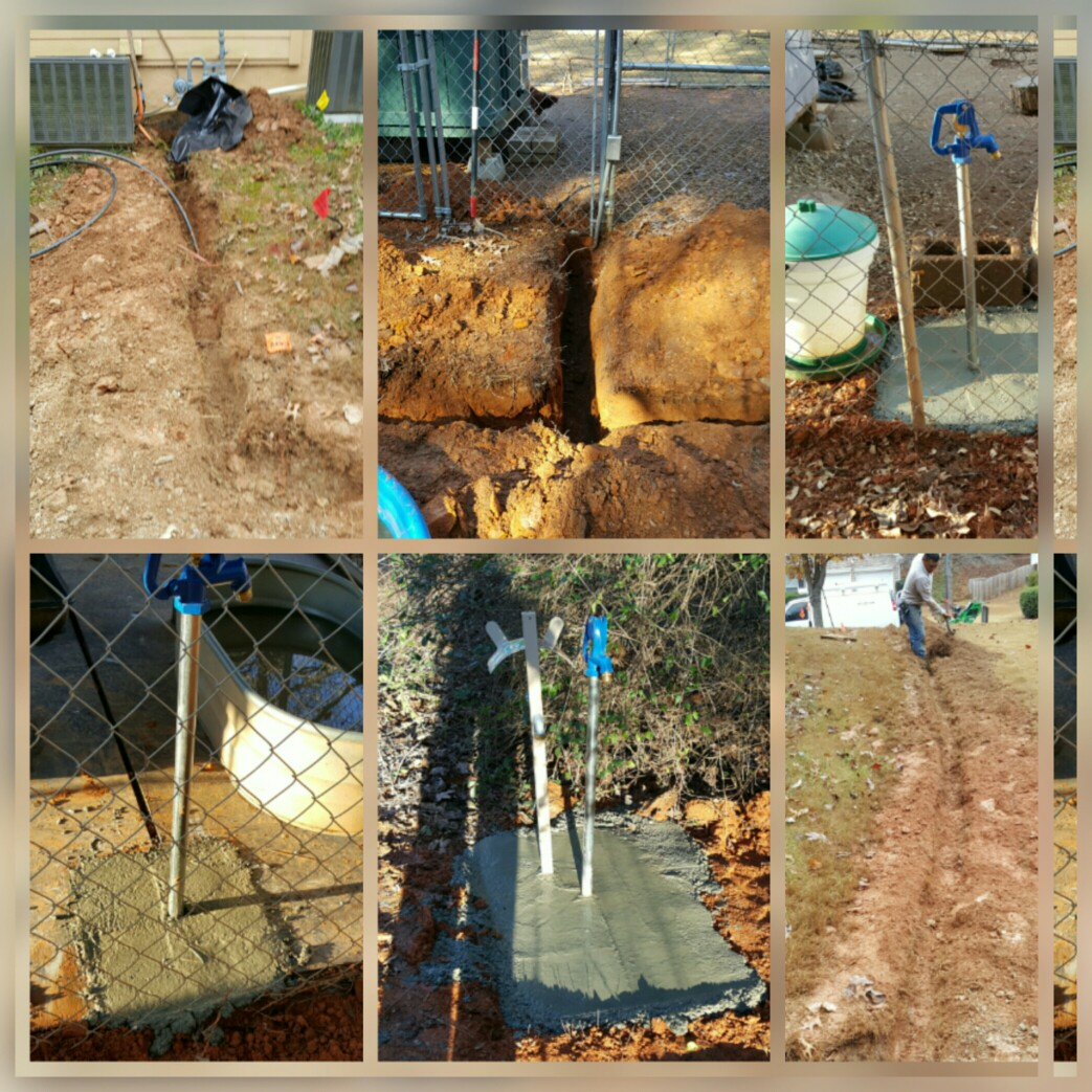 Installation of 7 yard hydrants for pet watering