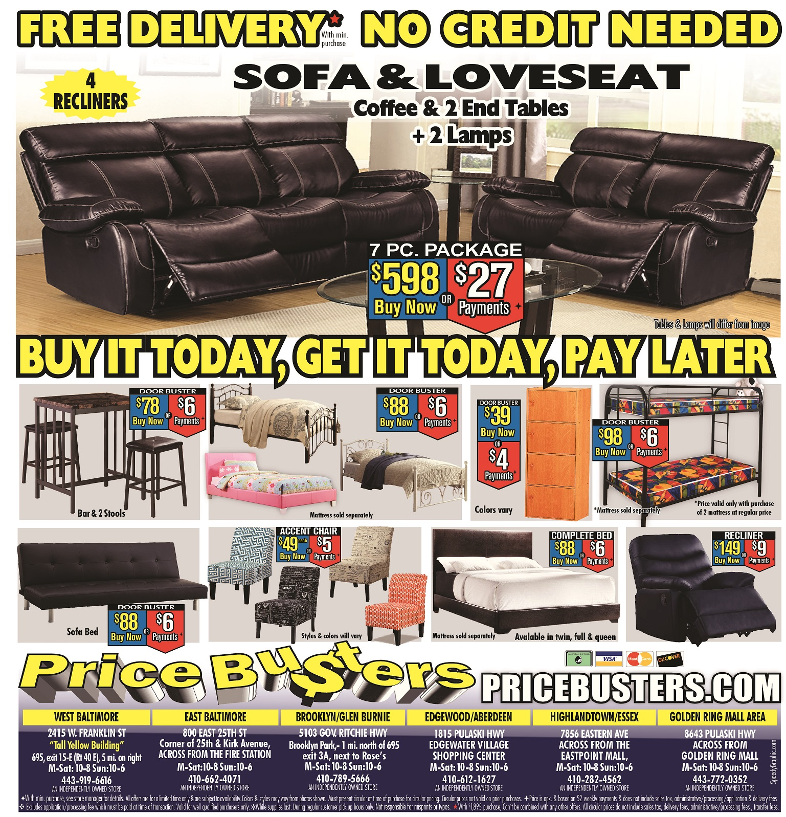 Price busters discount furniture in edgewood md 21040 for Shop cheap furniture online