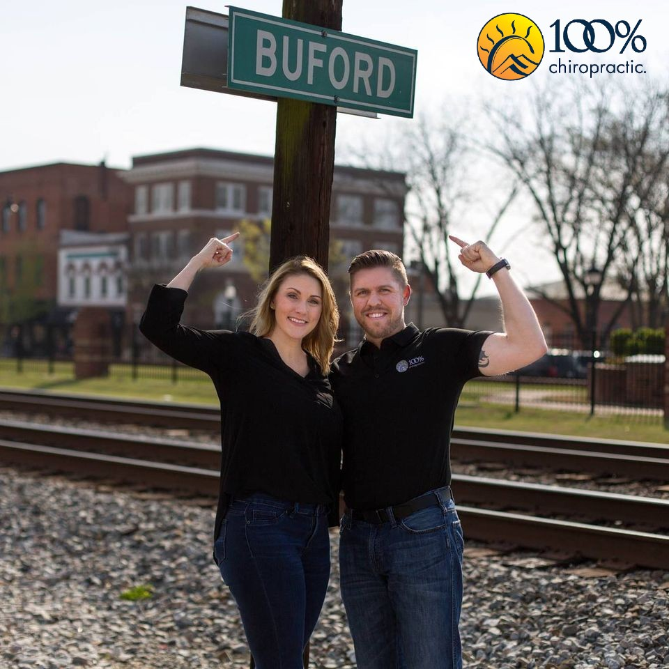 Drs. Steve Nutty and Vanessa Watkins-Nutty are local Buford chiropractors who offer personalized and dedicated care to not only to the city Buford, but also the surrounding communities of Sugar Hill, Suwanee, Cumming, Lawrenceville, Duluth, Flowery Branch, and many more. At 100% we have made a commitment to our community to share our knowledge of chiropractic care and how the human body is designed so that each person can gain a true understanding of how to reach their maximum health potential., , Chiropractor
