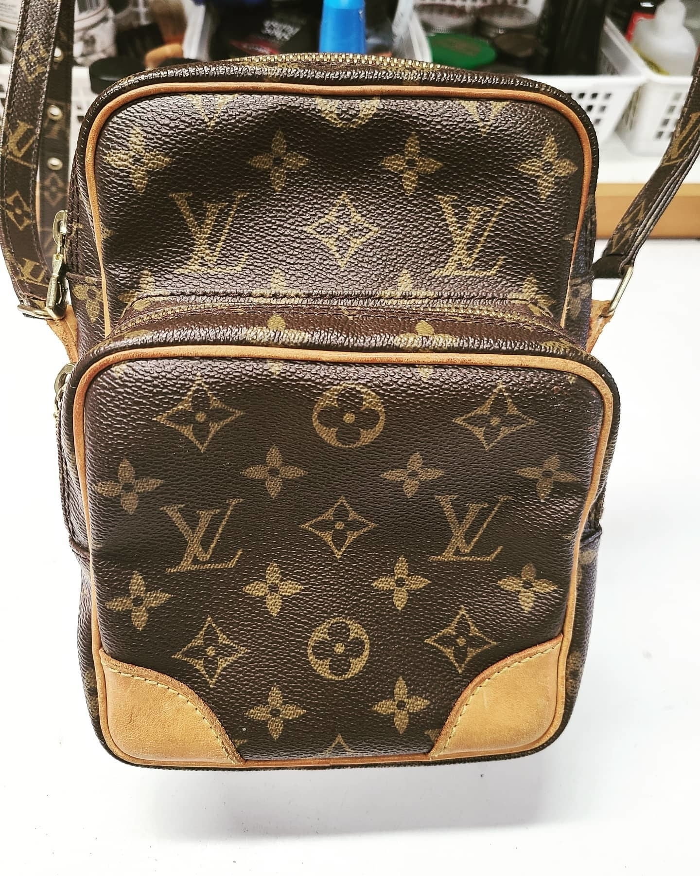KW Shoe Repair & Sneaker Cleaning Service in Kitchener: Both straps were fixed to this Louis Vuitton luxury purse!