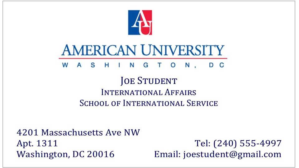 Au Student Business Cards At The Ups Store American University At