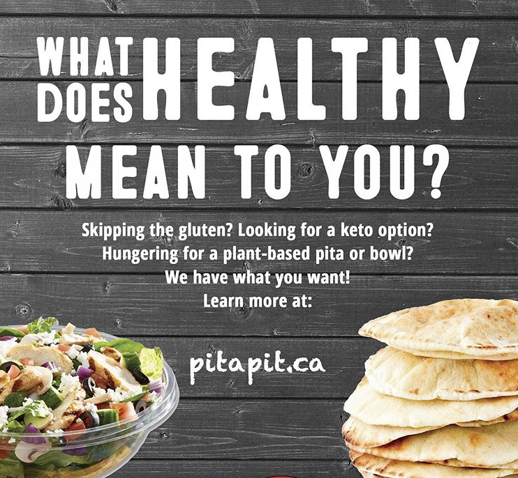 Pita Pit in Orillia: What does healthy mean to you? 樂 Whether you're eating keto, plant-based, gluten-free or just trying to make healthy food choices, Pita Pit Canada has something for everyone! ⠀ ⠀ Learn more at www.pitapit.ca. ⠀