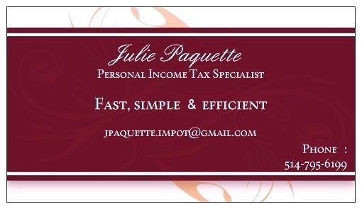 Julie Paquette Spécialiste en Impôt des Particuliers