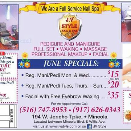 Jv style nails spa in mineola ny 11501 for 24 hour nail salon brooklyn ny