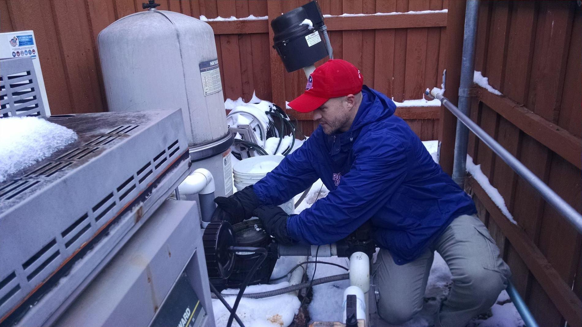 Pool Troopers Service Technician Working in the Winter