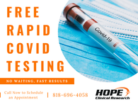 We are now offering Free Rapid COVID-19 Testing. Space is limited. Call now to schedule your appointment. #Covid-19 #RapidTesting #ClinicalResearch
