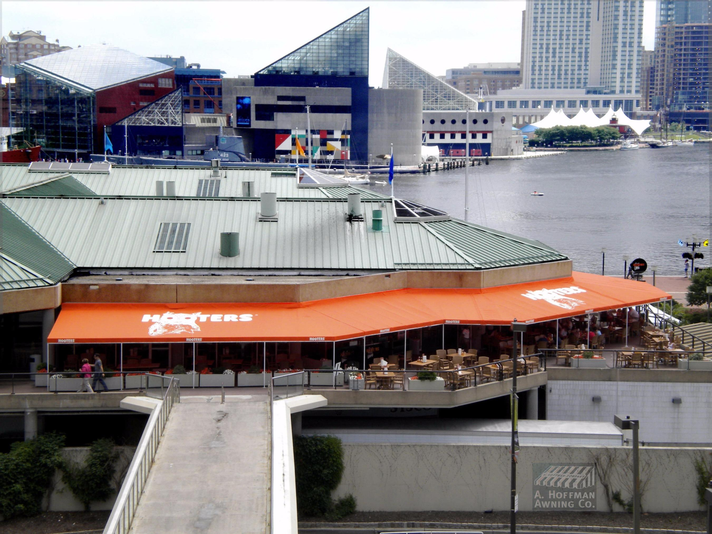 A. Hoffman Awning in Baltimore     410-685-5687     This is a huge patio awning for Hooters in the Inner Harbor
