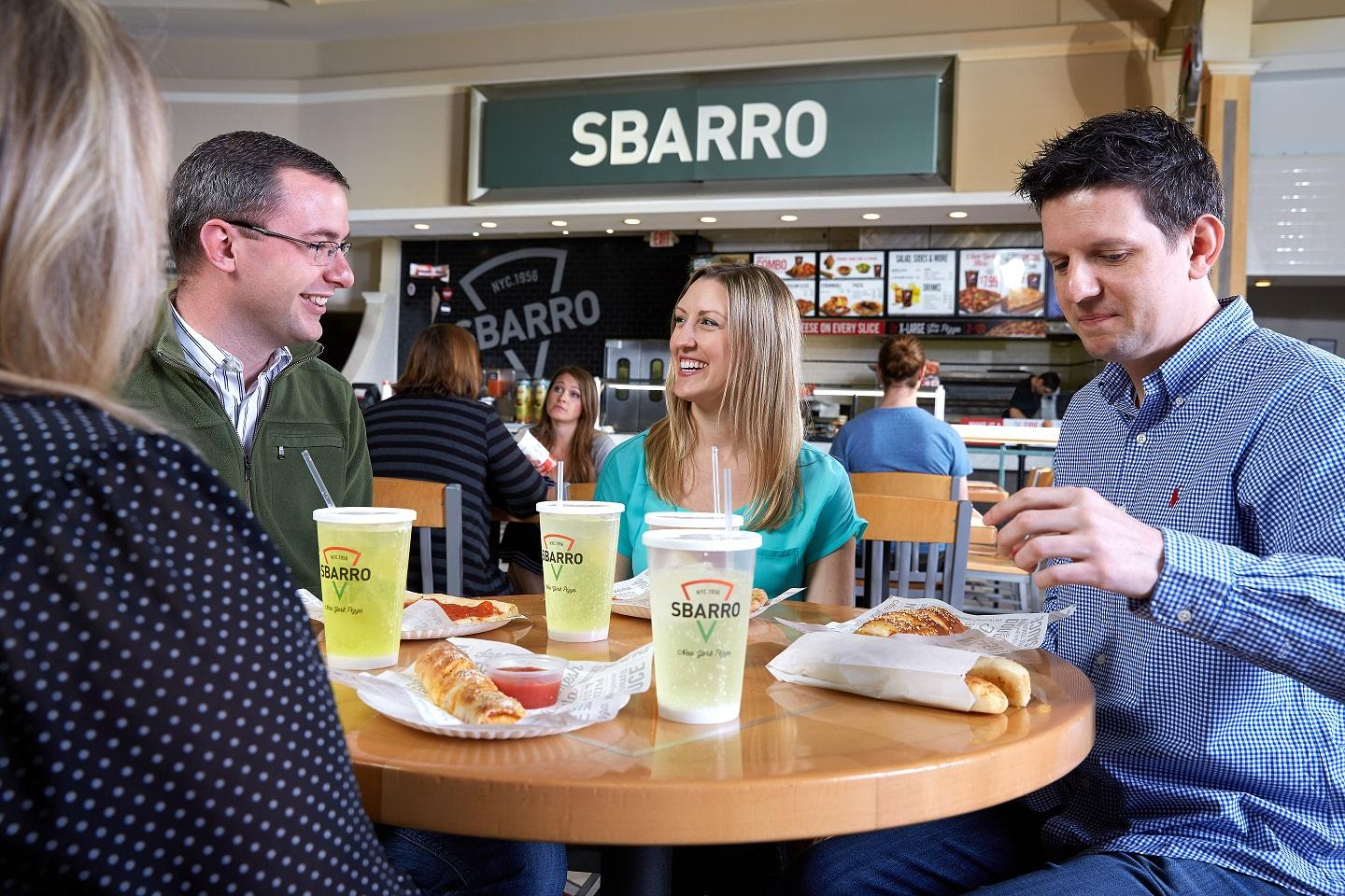 Grab your pals and a few slices at Sbarro.