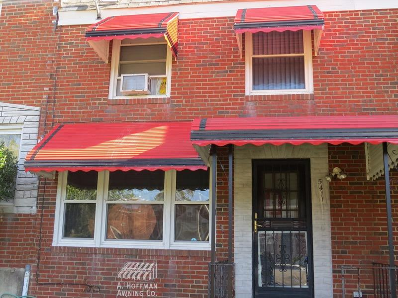 A. Hoffman Awning in Baltimore     410-685-5687     A Signature aluminum awning package from Hoffman Awning includes a porch awning, window awnings and a bay window awning.