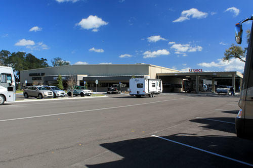 A shot of the front of the new General RV Center Tampa location.