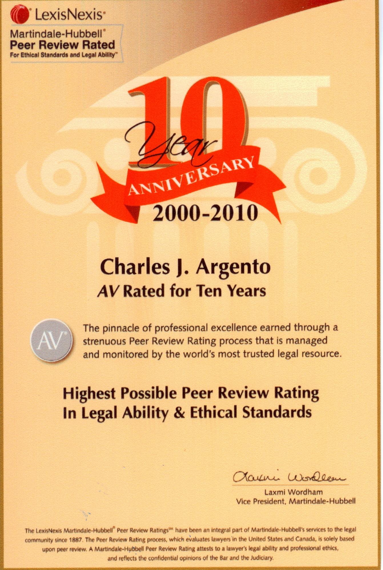 Charles J. Argento & Associates - ad image