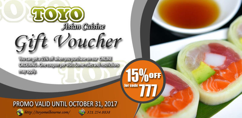 Toyo sushi asian cuisine coupons near me in melbourne for Asian cuisine near me