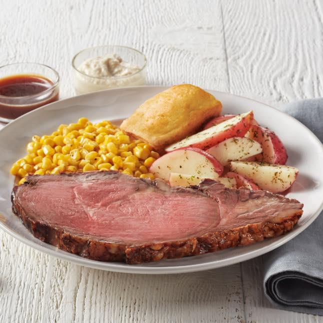 Rotisserie Prime Rib: Available Monday-Saturday after 5 pm and Sunday after 12 pm, while supplies last.