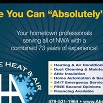 Air Duct Cleaning Equipment Rental Home Depot >> Absolute Heat & Air, Springdale Arkansas (AR) - LocalDatabase.com