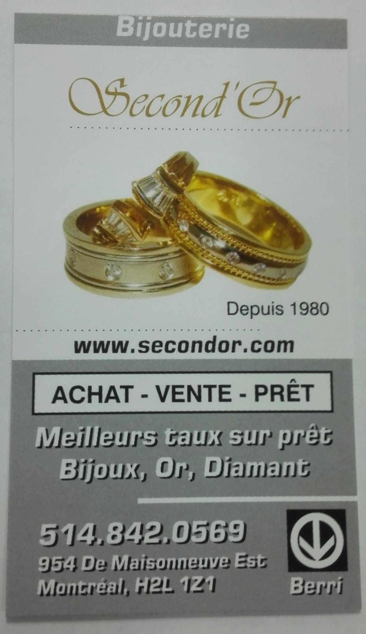 Second'Or à Montréal: Business card