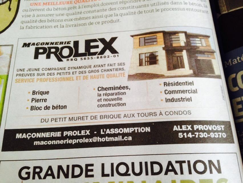 Maconnerie Pro Lex L'Assomption (514)730-9370