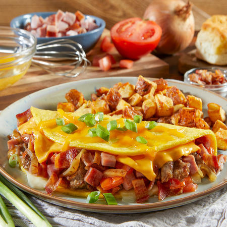 Three Meat and Cheese Omelet