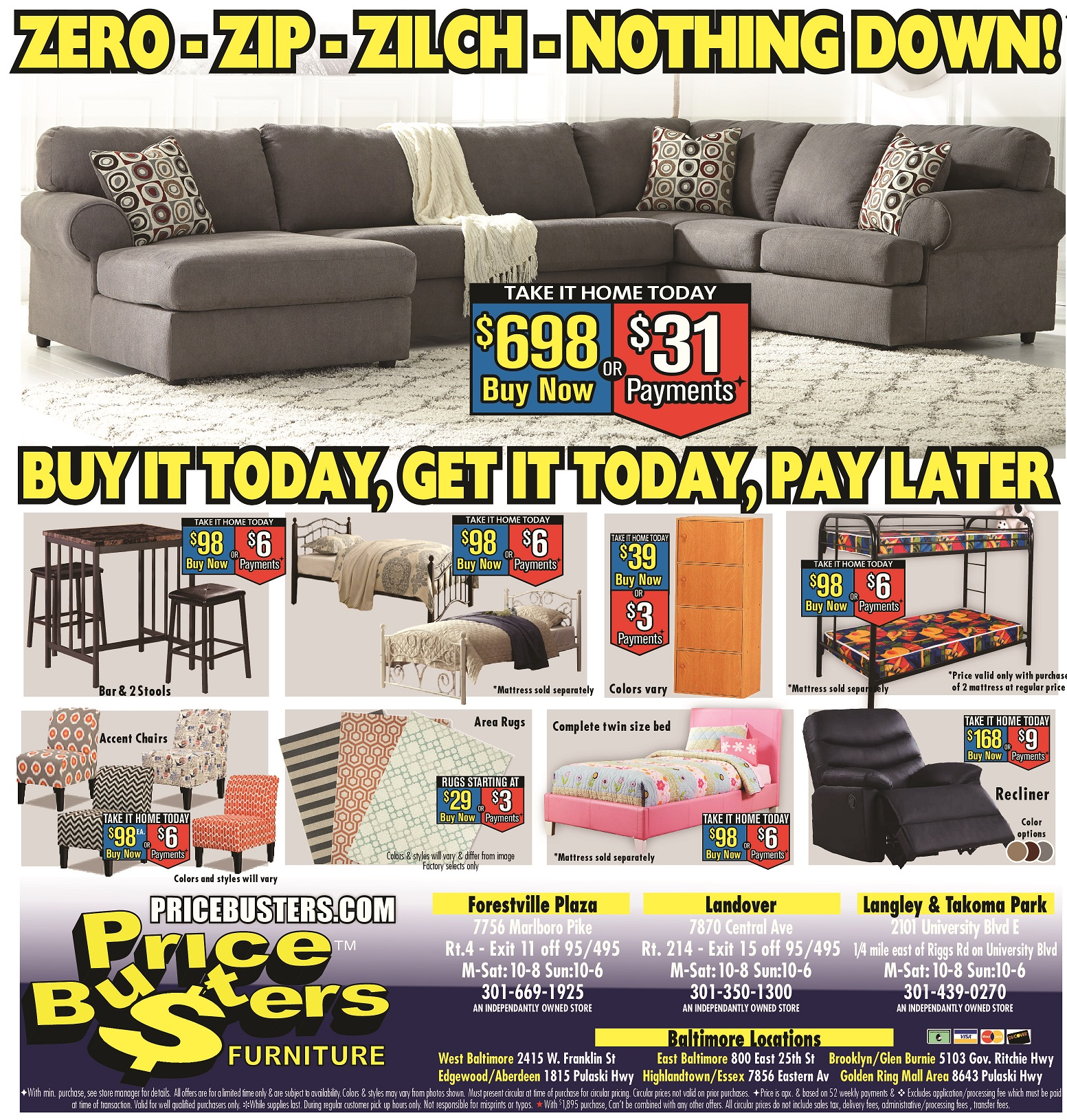 Furniture Stores Prices: Price Busters Discount Furniture, Rosedale Maryland (MD
