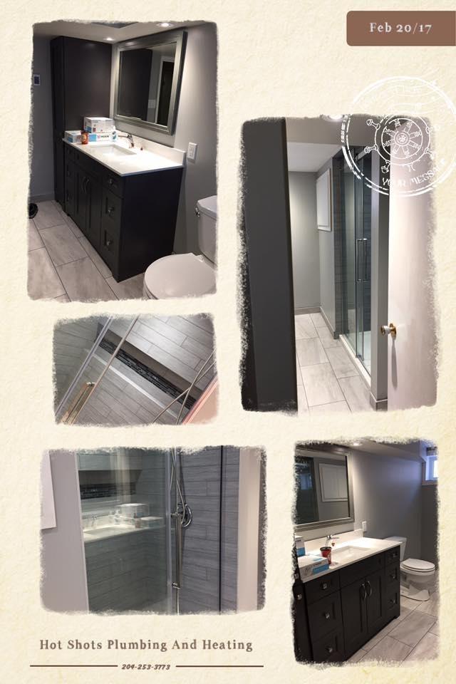Hot Shots Plumbing & Heating Corporation in Winnipeg: Bathroom Reno - Shower - Sink - Taps