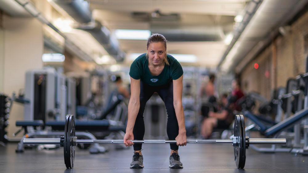 Free weights, deadlift with barbell
